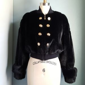Vintage St. John Faux Fur Cropped Bomber Jacket XS